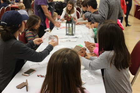 Participants working on various craft projects