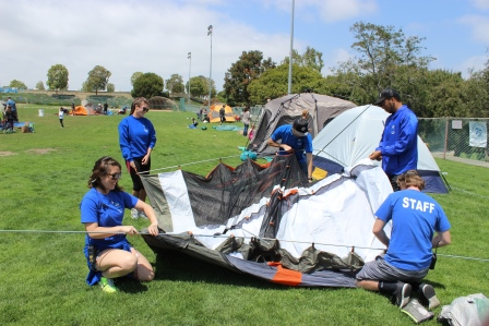 Manhattan Beach Staff setting up a tent
