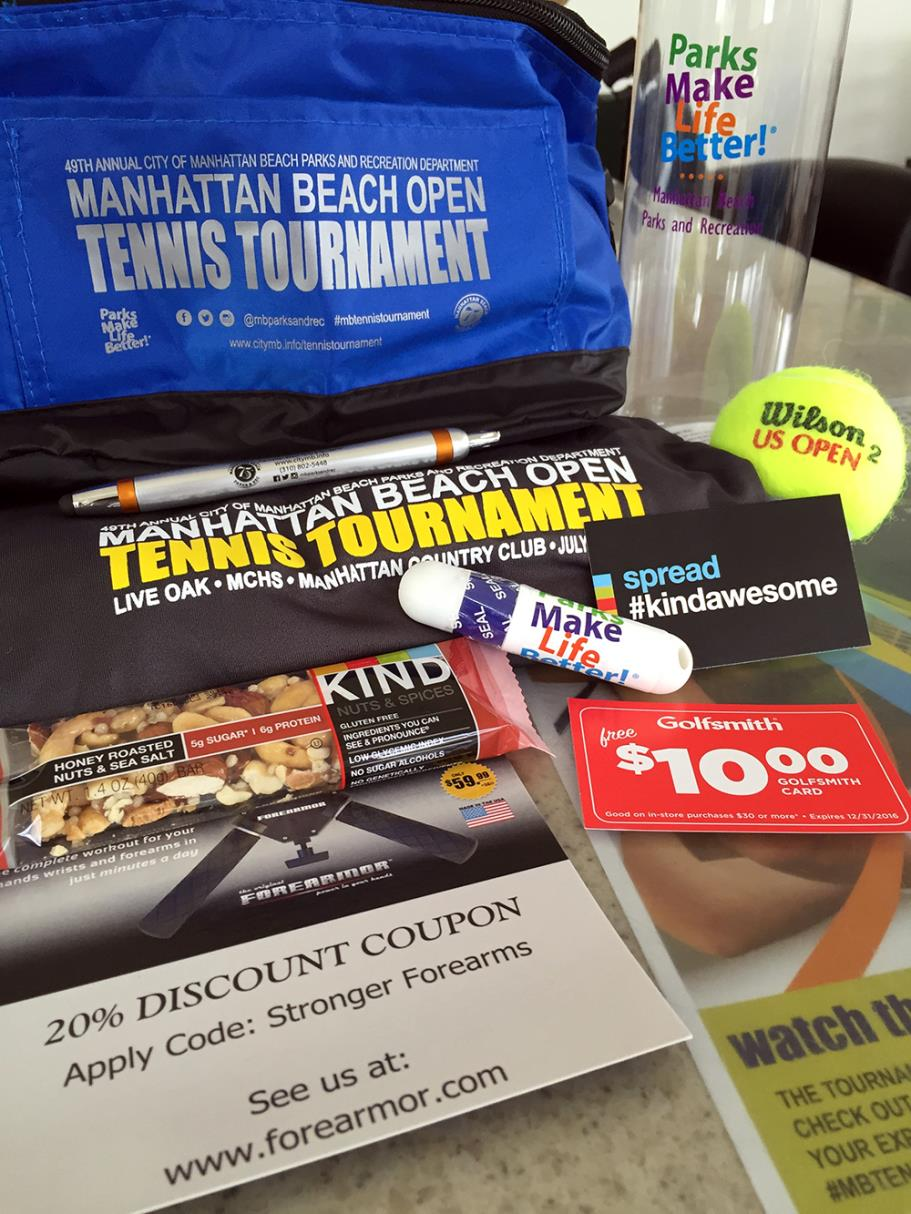 Swag Bag for 49th Annual 2016 Manhattan Beach Open Tennis Tournament players