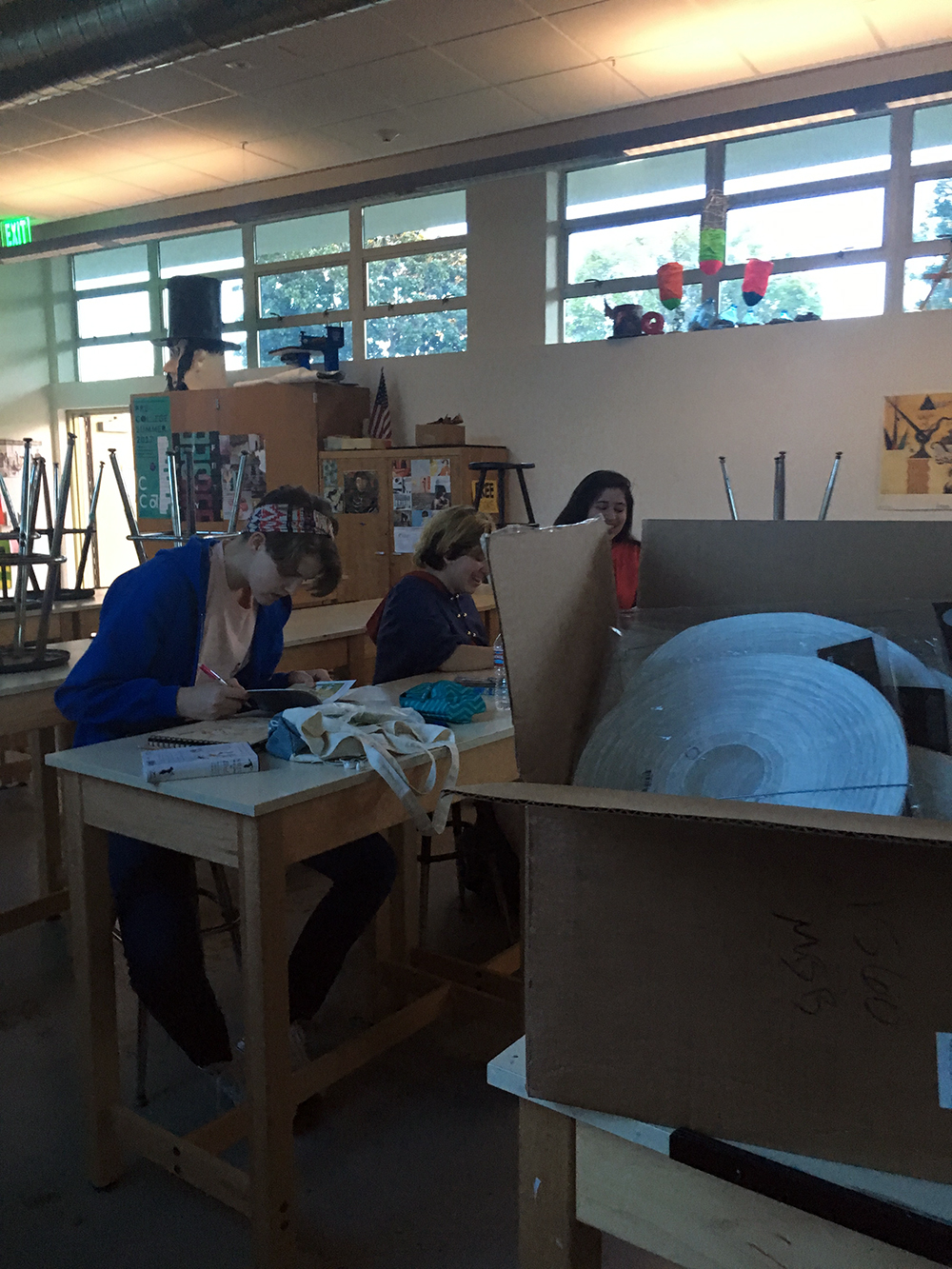 Students working on their project for the exhibition