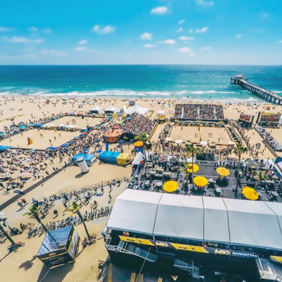 Aerial picture of the beach volleyball courts and stadium during MBO by AVP