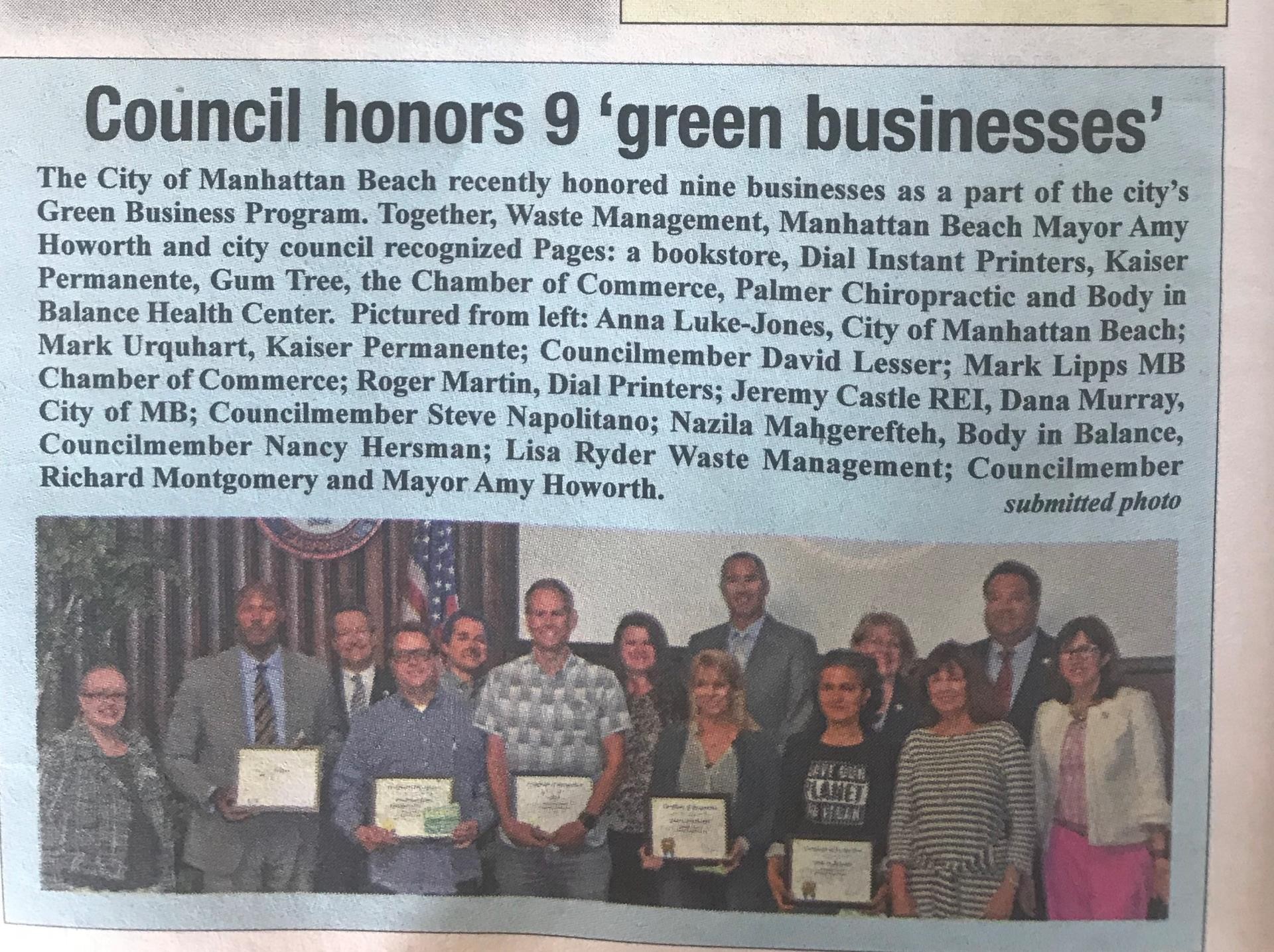 Green Businesses 2018 City Council