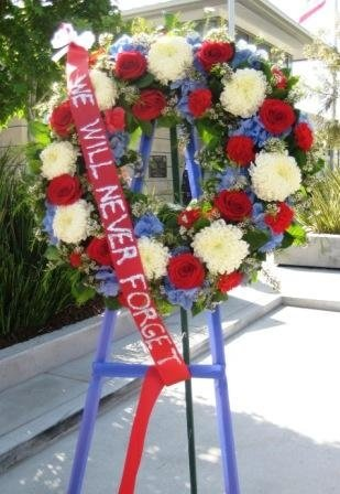 Wreath of flowers in honor of the fallen officers