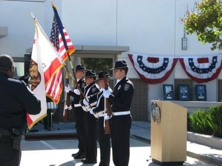 Honor Guard Presents the flags during the pledge of allegiance and national anthem
