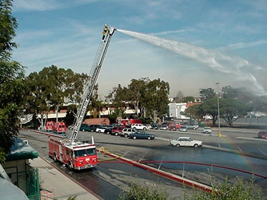 Fire Dos and Donts Spraying Water from top of Ladder
