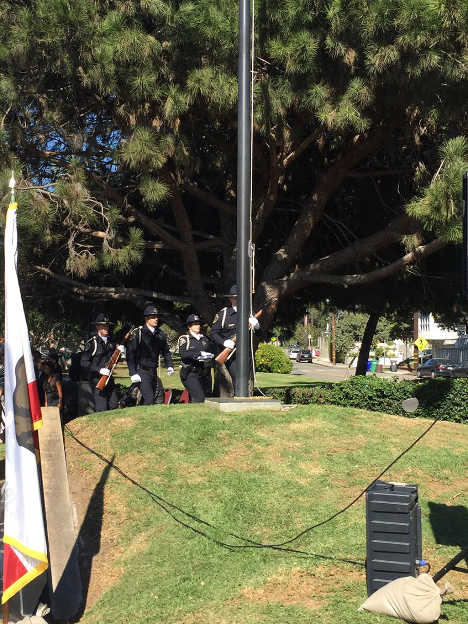 Presentation of the Colors by the Manhattan Beach Police Department Color Guard