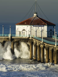 Manhattan Beach Pier During Big Surf