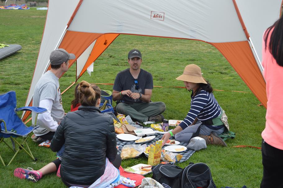 Family enjoying lunch during the Family Camp Out
