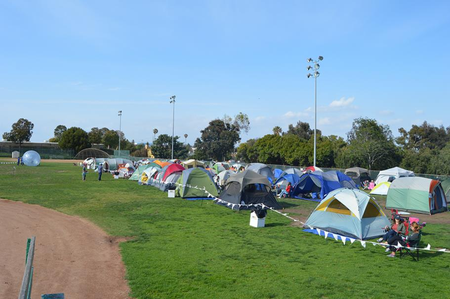 View of all the tents at the 2015 Family Camp Out