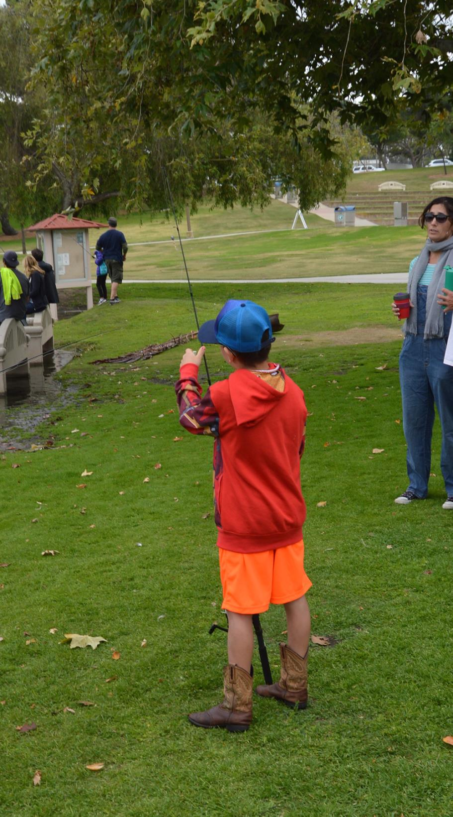 Participant checking his fishing pole