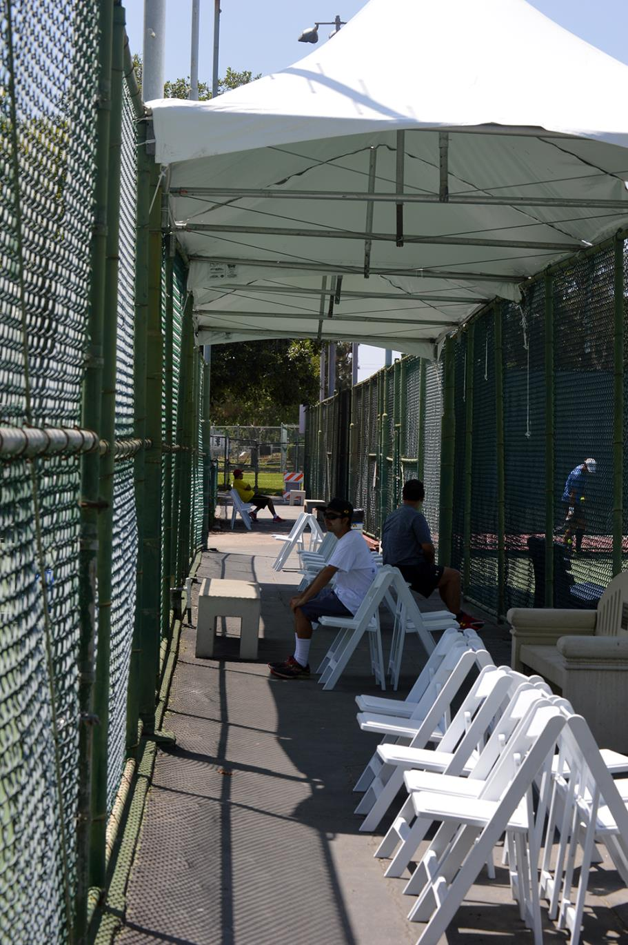 Covered seating to watch the action at at Live Oak Park Tennis Courts