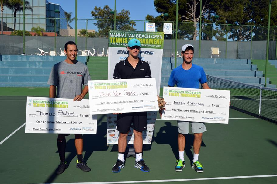 Thomas Shubert Men's Open Singles Finalist, Jack Van Slyke Men's Open Singles Winner and Joseph Rotheram Men's Open Singles 3rd place