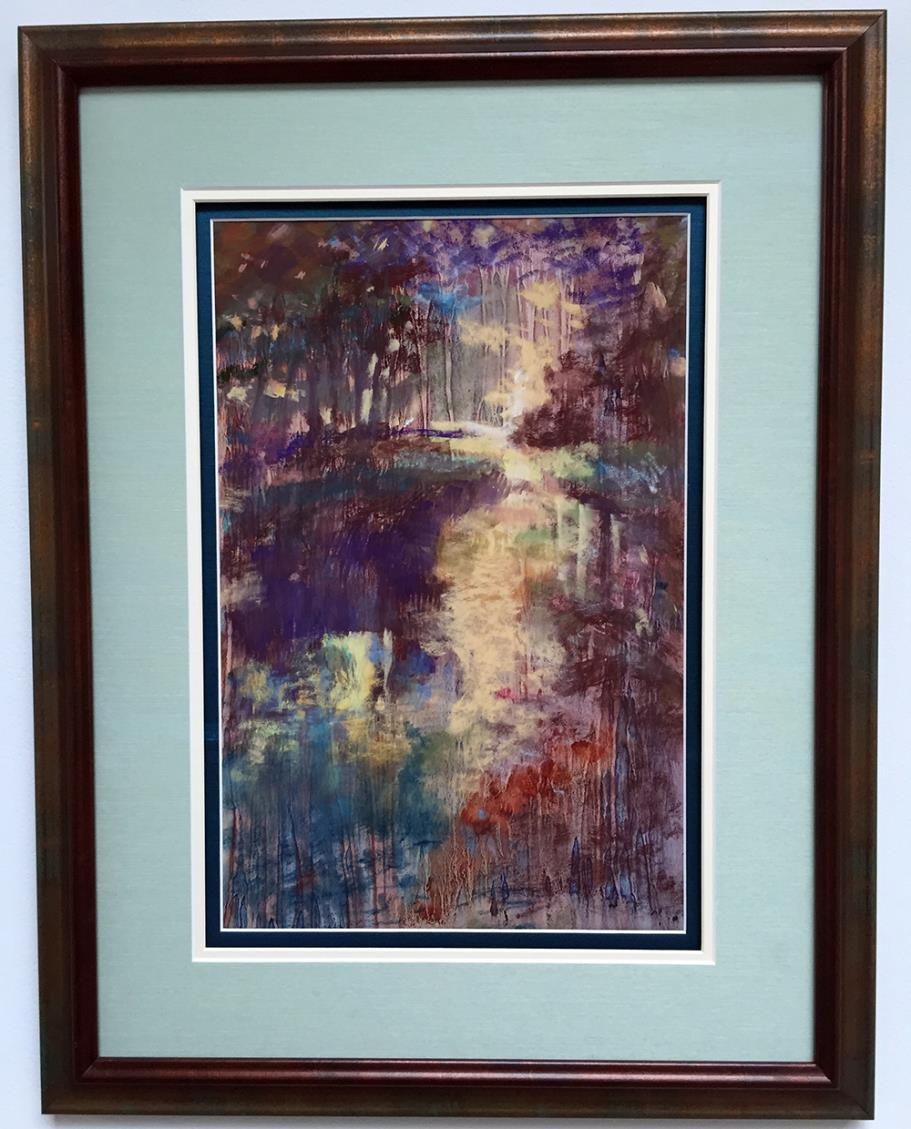 Bayou Mist, Painting, Oil on Paper with Patel Overlay by Anne Chape (Second Place)