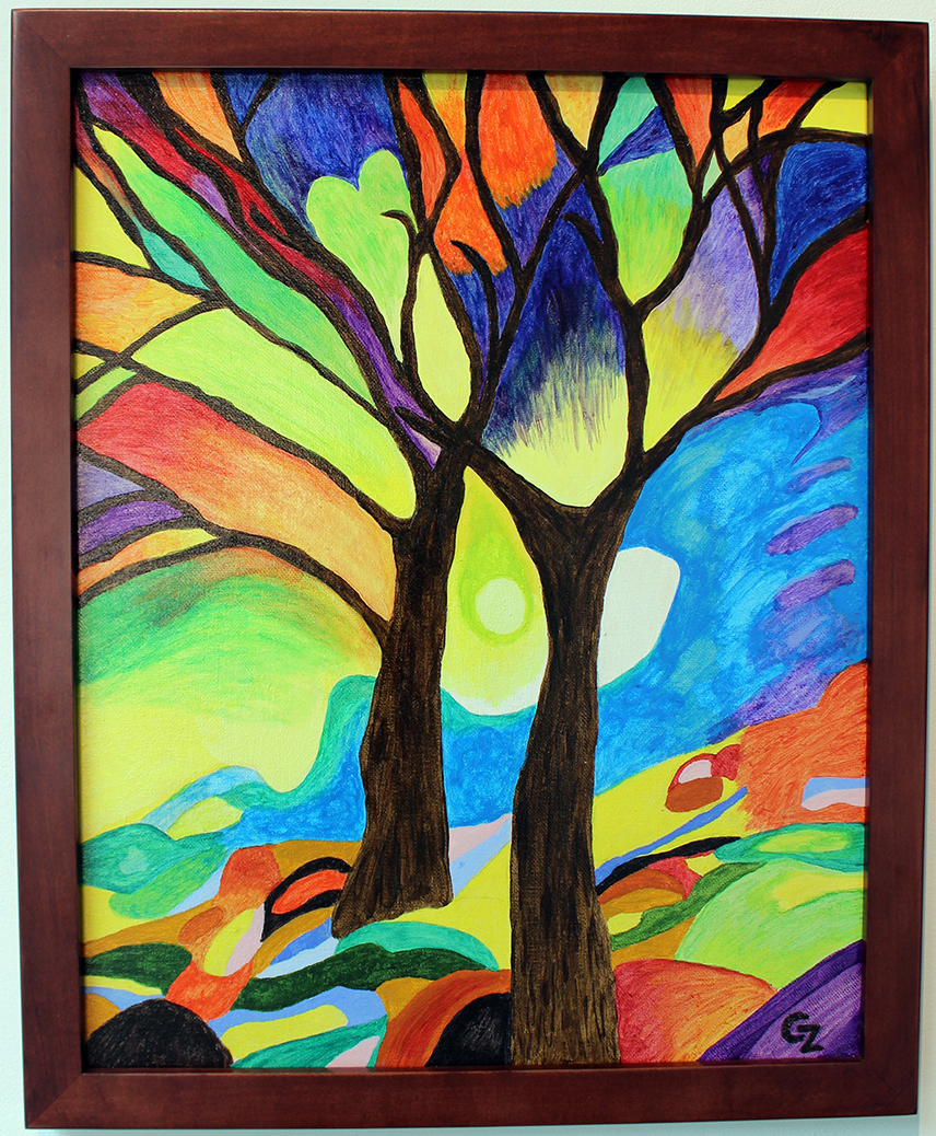 Trees of Color, Painting, Acrylic by Carrie Zehnpfenning