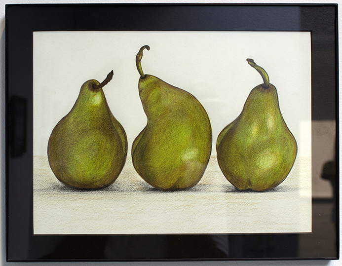 Three Pears, Drawing, Colored Pencil by Marie Anderson (first place)