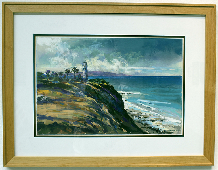 Point Vicente Lighthouse, Painting, Pastel by Mike Ishikawa