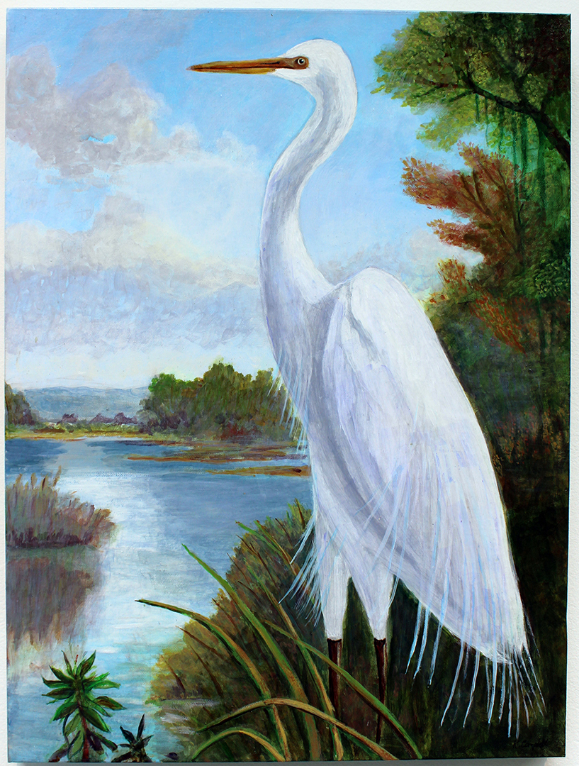 The Egret, Painting, Acrylic by Kathleen Campbell