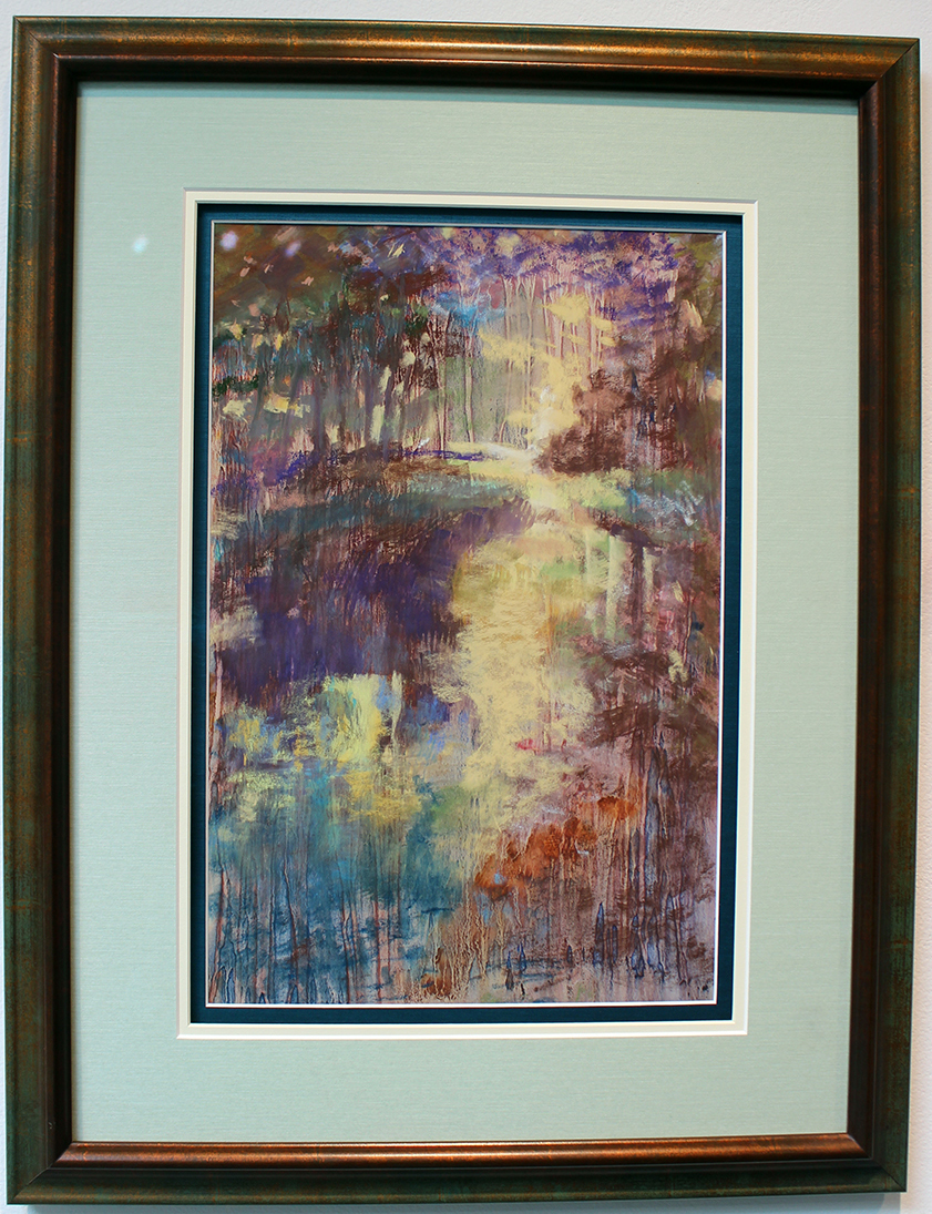 Bayou Mist, Painting, Oil on Paper with Pastel Overlay by Ann Chape' (second place)