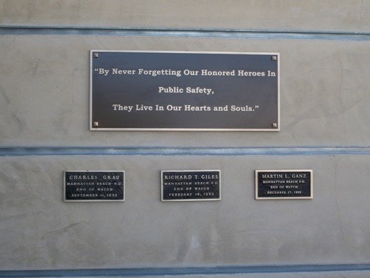 Public Safety Memorial Wall honors our three fallen Officers:  Charles Grau, Richard Giles, and Martin Ganz.