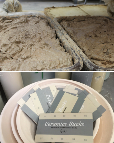 Top picture: Tubs of clay and slip Bottom Picture: Ceramics Bucks in a Bowl