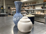 Three vases of various sizes and finishes made in Open Lab