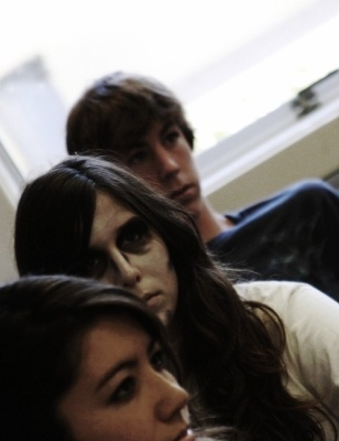 "Students return to class as the ""living dead"" - complete with white face make-up and an Every 15 Minutes t-shirt"