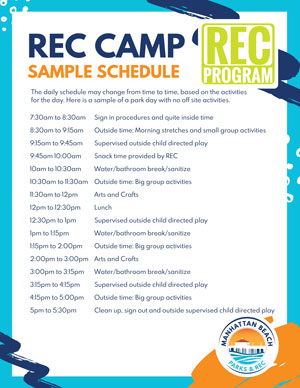 REC Camp Sample Schedule