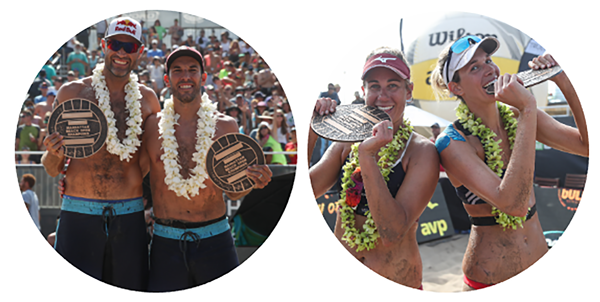 2018 MBO by AVP Winners: Phil Dalhausser, Nick Lucena, April Ross, and Alix Klineman