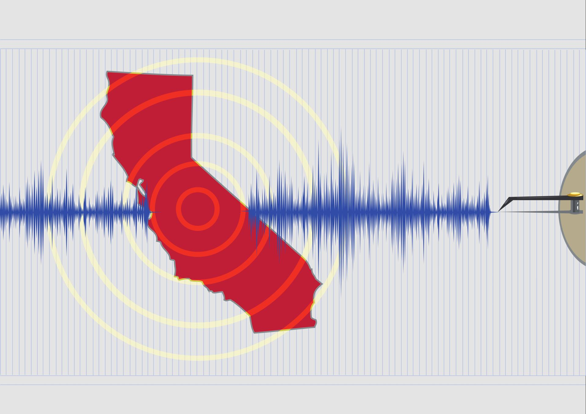 California Earthquake Photo with Seismograph
