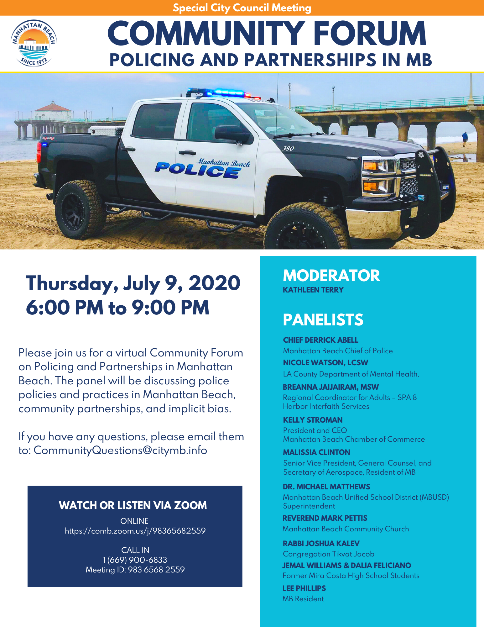 Community Forum in Policing and Partnerships in Manhattan Beach