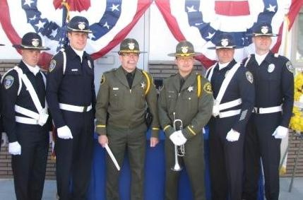 Manhattan Beach Honor Guard and Sheriffs Deputies who took part in the ceremony posed for a picture