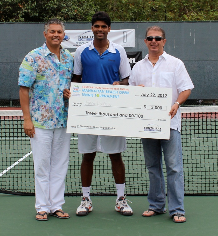 Idris Al-Oboudi, Recreation Services Manager, Vishnu Vardhan, and Gary Premeaux (South Bay Ford Title Sponsor)