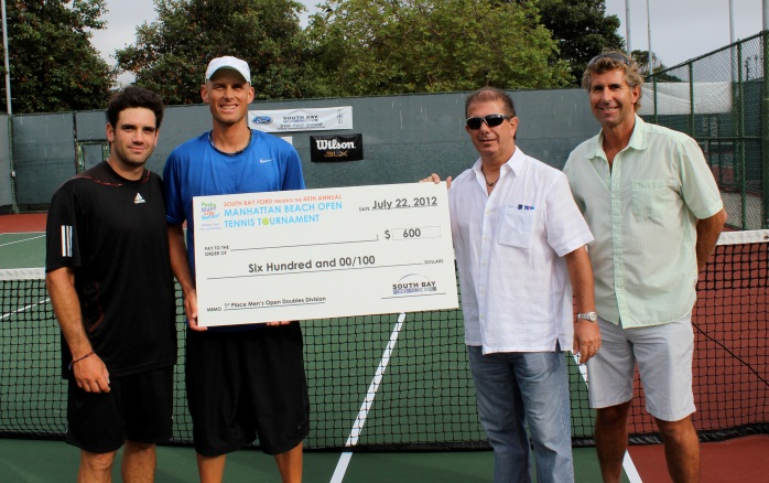 Men's Open Doubles winners with Gary Premeaux (South Bay Ford Title Sponsor) and Bennet Slusarz