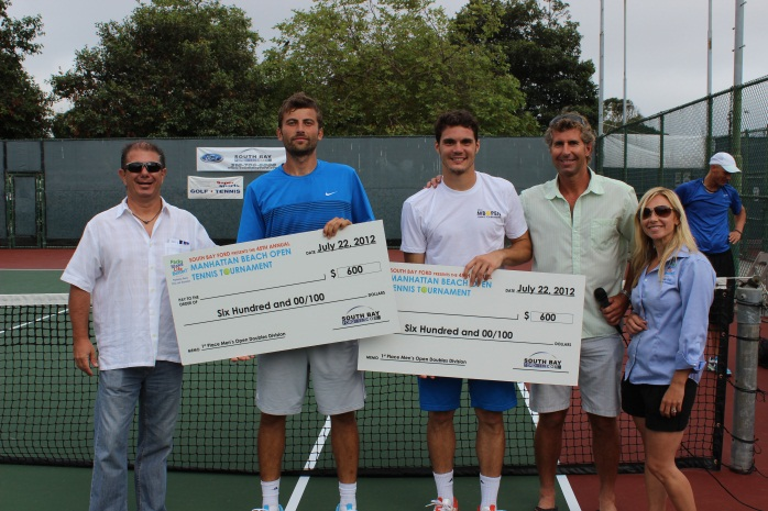 Men's Open Doubles winners with Gary Premeaux (South Bay Ford Title Sponsor), Men's Open Doubles winners, Bennet Slusarz, and Jessica Vincent