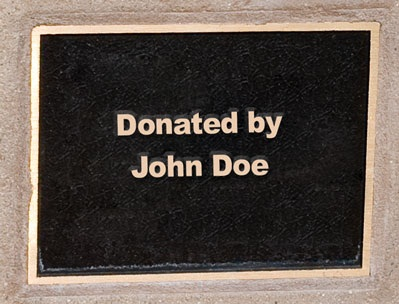 Detail of Plaque on Park Bench