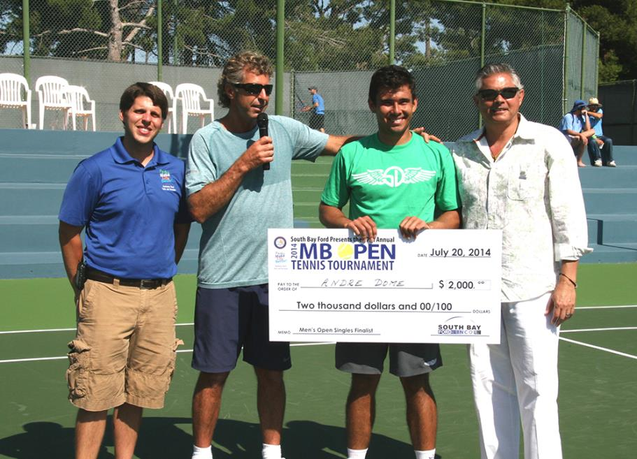 Tennis Officials presenting Andrew Dome Manhattan Beach Open Tennis Tournament Singles Finalist with his prize money