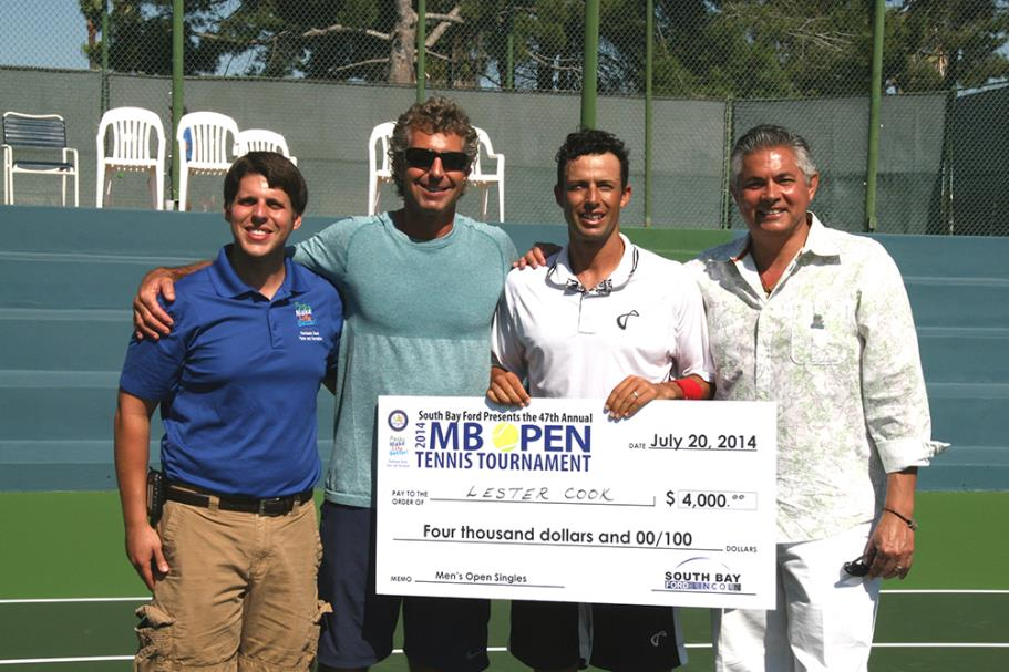 Tennis Officials presenting Lester Cook Manhattan Beach Open Tennis Tournament Singles winner with his prize money