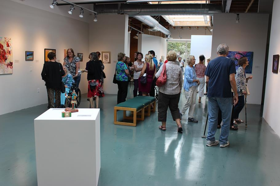 Guests enjoying the art exhibition