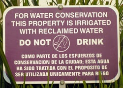 Reclaimed Water Warning Sign